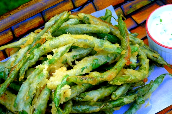 beer-battered green beans