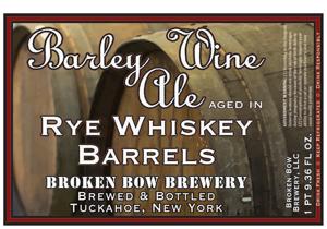 Barley Wine Ale Aged In Rye Whiskey Barrels