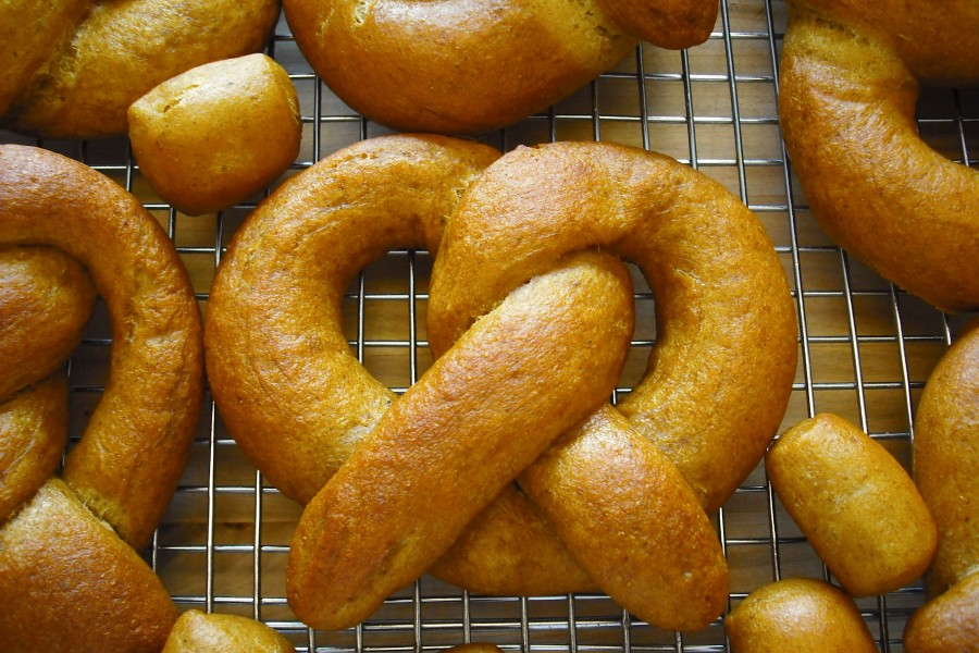 Pumpkin stout soft pretzels