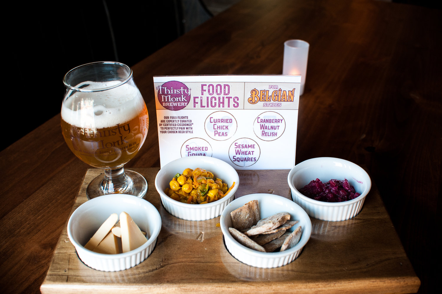 Thirsty monk introduces food flights in north carolina for Craft beer and food