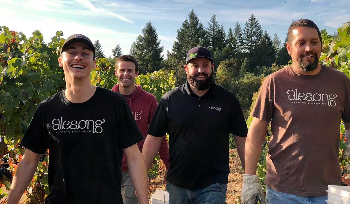 Alesong Brewing team in vineyard
