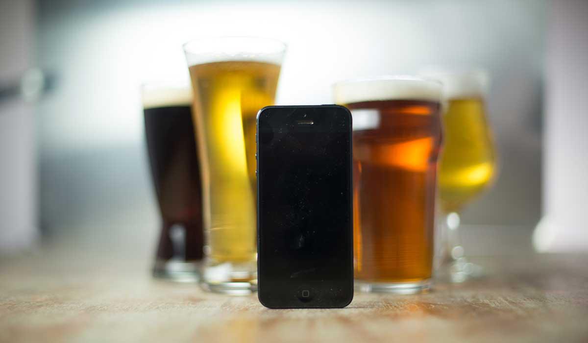 bières et smartphone