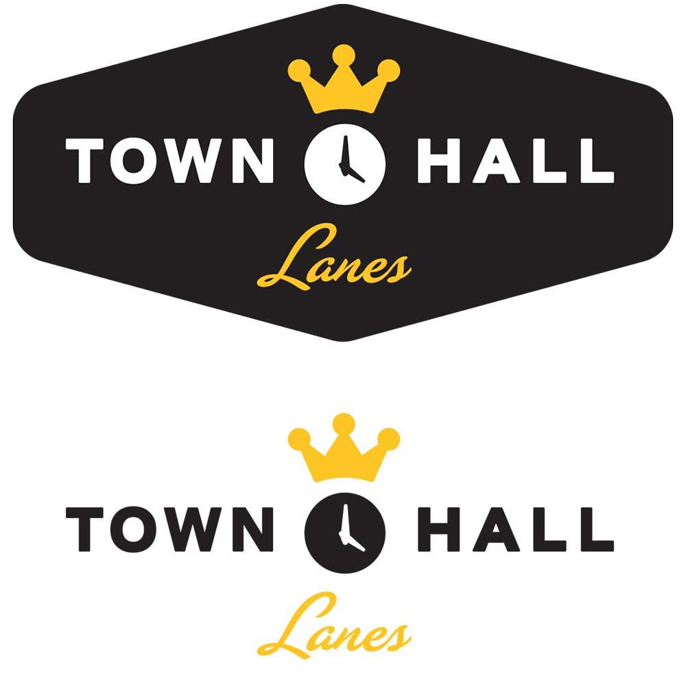 town hall bowling lanes logo