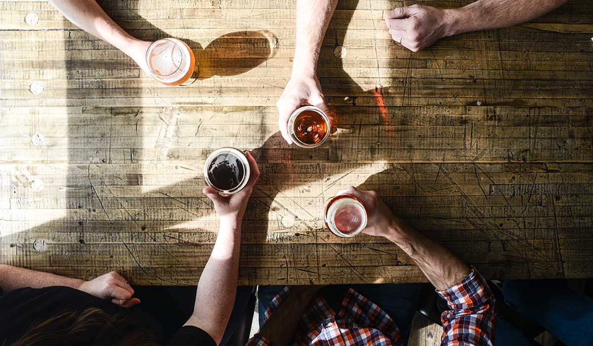 craft beer table friends
