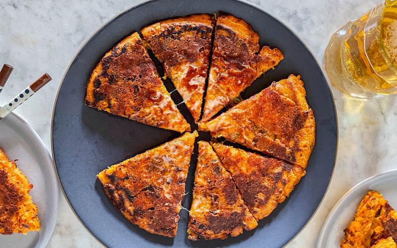 sweet sour kimchi cheese pancake