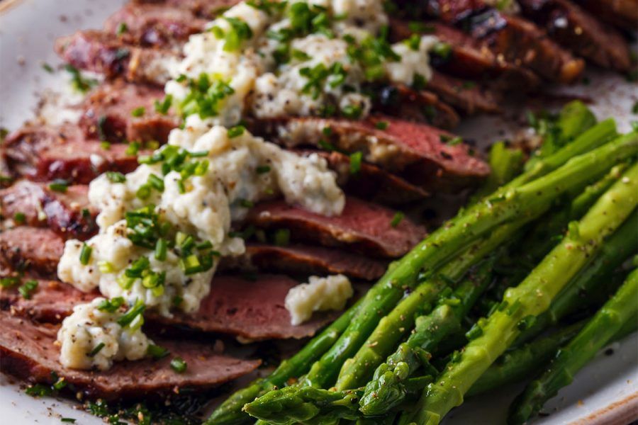 Beef Tenderloin Steaks with Porter Reduction and Blue Cheese