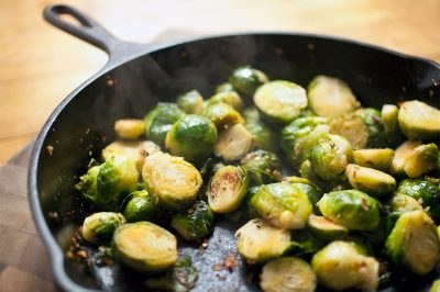 Beer Braised Brussel Sprouts with Shiitake Bacon