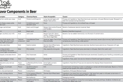 Flavor Components in Beer chart