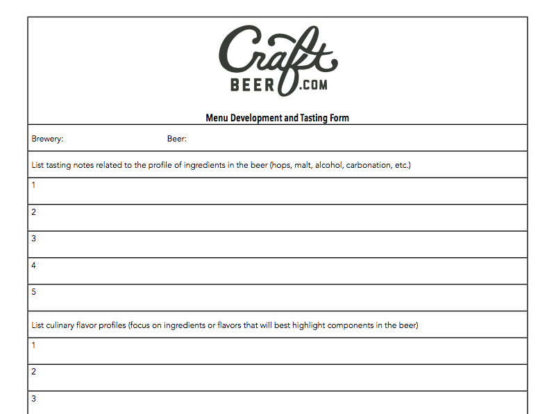 beer and food Menu Development Form