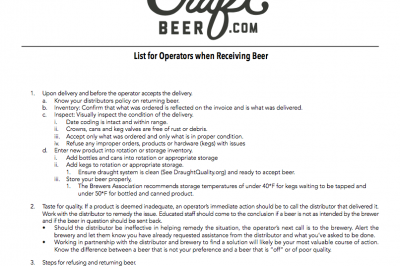 Operator's Guide to Receiving Beer