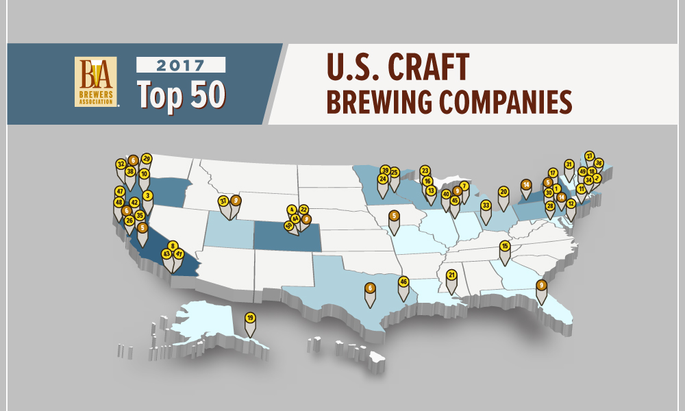 Here Is A List Of The Top 50 Us Craft Breweries In 2017 - Us-brewery-map