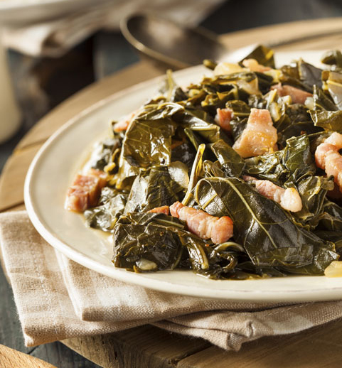 Stout Braised and Bacon Studded Collard Greens