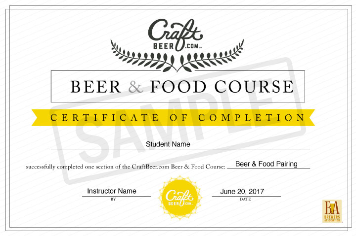 Craftbeer.com Beer and Food Course Certificate of Completion