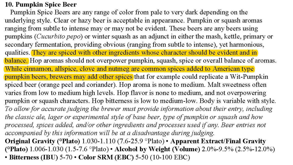 Pumpkin Beer Guidelines